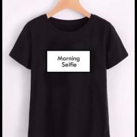 F5Kyo5 New T-Shirt Wanita Motif Morning Selfie - Maroon