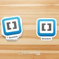 Sticker - Stiker Logo Aplikasi Brackets Text Editor untuk PC Laptop HP