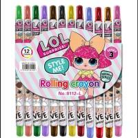 [LOL] Rolling Crayon Panjang 17cm / 12pc Krayon Putar Warna Karakter