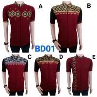 baju koko batik lengan pendek kombinasi bordir bd01 merah maroon keren