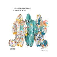 LIBBY Baju Kodok Panjang Topi Buka Kaki / Jumpsuit Baby Motif (0-3M)