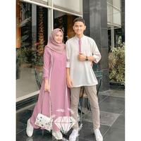 Baju Busana Muslim Gamis Couple Pria Wanita Simple Pink
