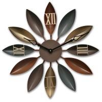 Terlaris Loskii Antique Industrial Wind Iron Leaves Wall Clock Novel