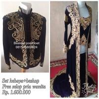 sepasang baju pengantin tradisional adat jawa hitam gold beskap kebaya