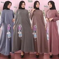Long Maxi Dress Gamis Muslim Baju Katun Supernova Polos Boneka 3D 711