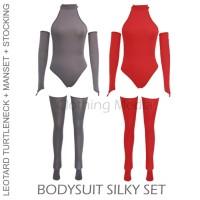 Bodysuit Set Silky Leotard Stocking Manset Tangan Baju Setelan Wedding