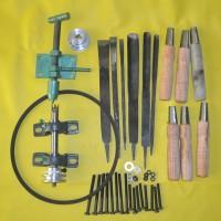 komponen mesin bubut kayu manual lengkap dengan pisau