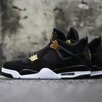 Sepatu Nike Air Jordan Retro 4 Royalty - Black Gold Sepatu Basket