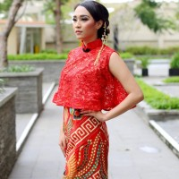 Dress Batik Merah Wanita Baju Pesta Pernikahan Batik Merah Katun Print