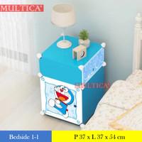 Multica lemari plastik bedside table anti air rak buku susun 2 pintu