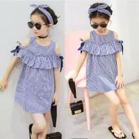 Dress Bayi Anak Perempuan /Off Shoulder Dress + Bandana Motif Garis