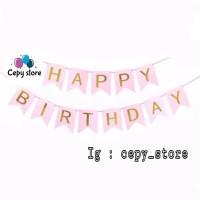Banner Happy Birthday / Bunting Flag Ulang Tahun Pink Tulisan Gold