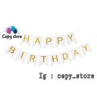 Banner Happy Birthday / Bunting Flag Ulang Tahun Putih Tulisan Gold