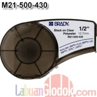 Tape Label Brady clear Polyester 12mm White onClear M21-500-430