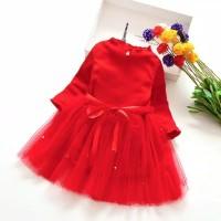 Baju Terusan Anak Perempuan Merah Import - Size 3XL
