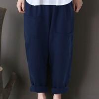 Celana Panjang Wanita Model Ethnic Vintage Kualitas Import Solid Color
