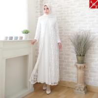 Sale Baju Gamis Putih Brokat Syari Lebaran Haji Umroh Muslim #80820