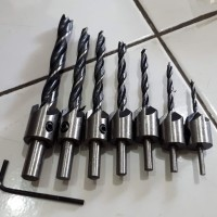 7 pcs Mata Bor Kayu set   Dirll Bit Countersink 3-10mm