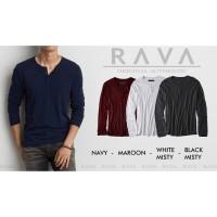 RAVA Baju Kaos Pria Henley Polos Lengan Panjang Premium Quality by RAV