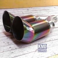 Muffler tailpipe buntut knalpot mobil 5zigen double pelangi universal