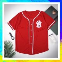 Baju baseball - JERSEY BASEBALL NY merah list putih Pria Wanita