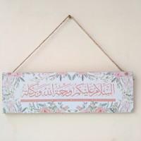 hiasan poster papan assalamualaikum arab shabby pink uk 10x30