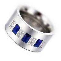 Cincin Pria Blue Crystal Ring Titanium 316L Stainless Steel