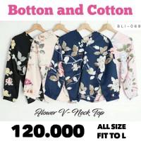 Best Seller BARU! Baju Atasan Wanita Blouse V-Neck Floral bahan