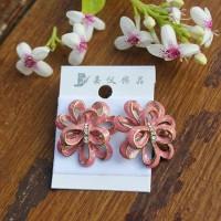 Anting Bunga susun - Merah Muda