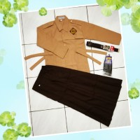 Satu Set Seragam Pramuka SD Perempuan Baju Panjang Rok Panjang
