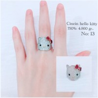 Cincin Hello Kitty Emas / Mas Putih 75% Berat 4.860 Gram No.13..