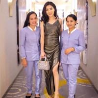 baju seragam baby sitter hijab mandarin collar purple