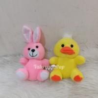 Gantungan Tempel Kaca Boneka Animal Binatang Kelinci Pink / Bebek