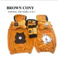 Bantal Jok Mobil 5 in Car set headrest Lengkap Motif Cony Brown Line