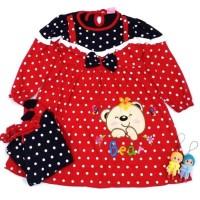 Dress Baju Gamis Anak Bayi Cewek Perempuan Bear ( 4 - 12 Bln )