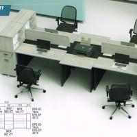 Meja Kerja Staff Kantor Workstation Sekat 4 Orang Laci Lemari Arsip