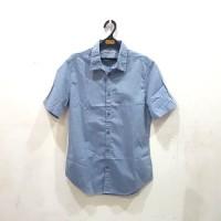 Kemeja Pria Original Calvin Klein Ss Shirt Blue Pattern