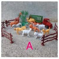 mainan set animal karet isi 12 pcs - hewan - kebun binatang mini