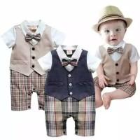 baju bayi jumper bayi laki-laki jumper pendek model jas dasi kupu-kupu