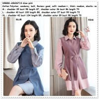 Mini Dress Kemeja Kerja Lengan Panjang Wanita Korea Import AB636713
