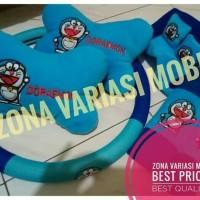 paket bantal mobil headrest car set 3 in1 +sarung stir mobil doraemon