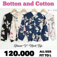 New BARU! Baju Atasan Wanita Blouse V-Neck Floral bahan Maxmara