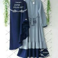 Baju Muslim Dewasa Polka Set Gamis Wanita Muslimah Syari Maxi Dress