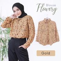 baju atasan wanita kemeja blouse flowery motif bunga original