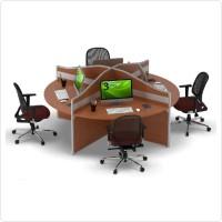 Meja Tulis Kerja Staff Kantor Workstation Bulat 4 Orang Partisi Sekat