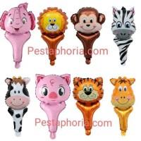 Balon Foil Pentung / Tongkat / Tenis Kepala Hewan / Animal Head