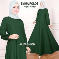 Baju Wanita Gamis Busui Terbaru Busana Muslim Emma Polos Hijau Army