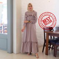 Gamis Syari Maxi Varisa Abu / Dress Muslim Arabian Crepe Premium