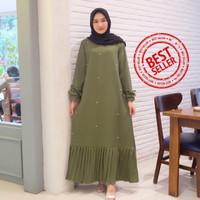 Gamis Syari Maxi Najma Army / Dress Muslim Arabian Crepe Premium
