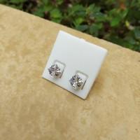 Anting Stud Monel Steel Diamond Kotak Cubic Zirconia